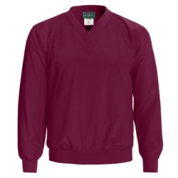 Outer Banks Water-Resistant Wind Shirt - Rib V-Neck, Long Sleeve (For Men and Women) in Wine