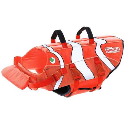 Fish Print Dog Life Jacket - Medium in Red - Closeouts
