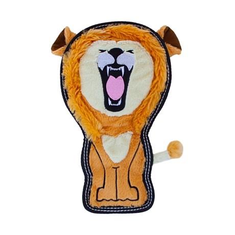 Outward Hound Tough Seamz Lion Dog Chew Toy - Squeaker in Brown
