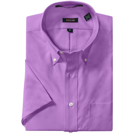 Overton Royal Oxford Sport Shirt - Wrinkle-Free Cotton, Short Sleeve (For Men) in Lilac