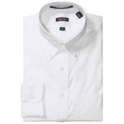 Overton Wrinkle-Free Pinpoint Cotton Shirt - Button-Down Collar, Long Sleeve (For Men) in White