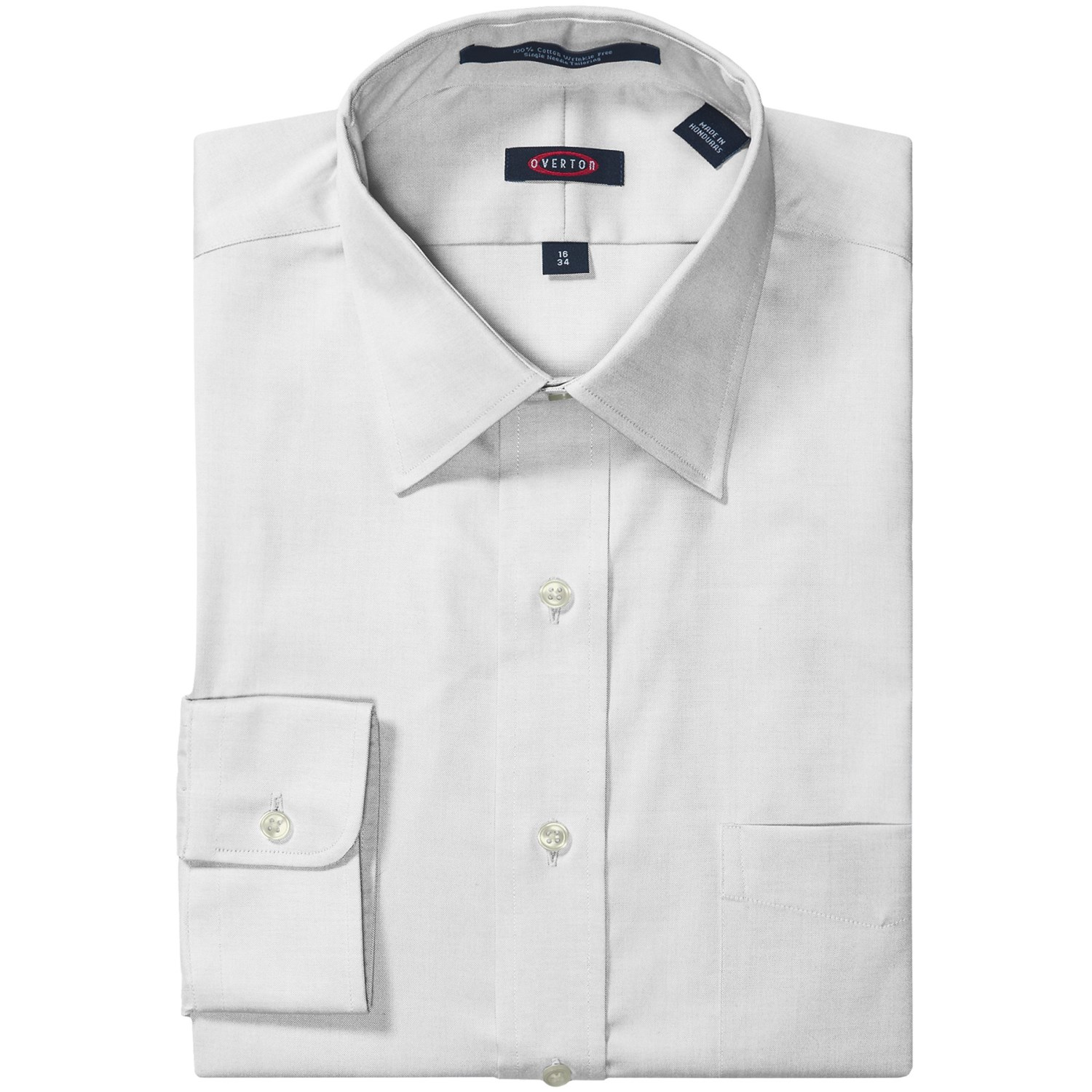 Overton Wrinkle Free Pinpoint Cotton Shirt Long Sleeve