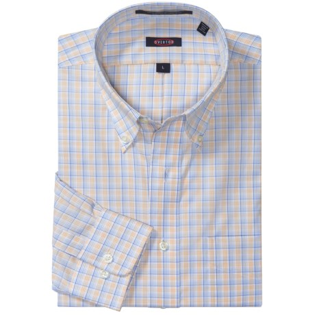 Overton Wrinkle-Free Plaid Sport Shirt - Long Sleeve (For Men) in Citrus
