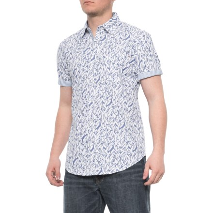 1a040dd3 Oxford Blue Allover Chip Print Shirt - Short Sleeve (For Men) in Dazzle Blue