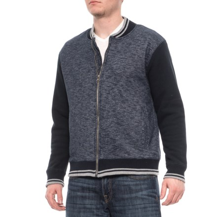 Oxford Blue Sherpa-Lined Baseball Jacket (For Men) in Navy - Closeouts 0c22827dc