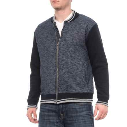 Oxford Blue Sherpa-Lined Baseball Jacket (For Men) in Navy - Closeouts