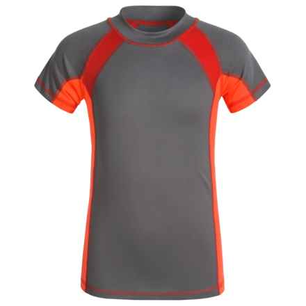 Oxide Mesh Rash Guard - UPF 50, Short Sleeve (For Big Boys) in Pewter - Closeouts