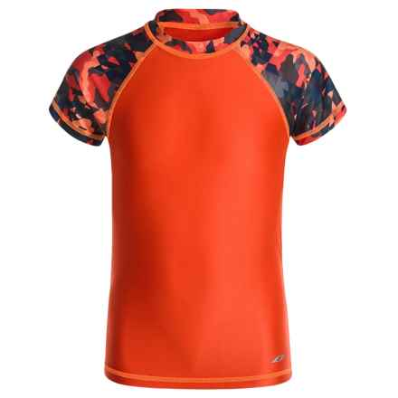 Oxide Printed Rash Guard - UPF 50, Short Sleeve (For Big Boys) in Red - Closeouts