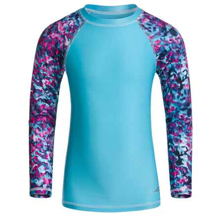 Oxide Rash Guard - UPF 50, Long Sleeve (For Little and Big Girls) in Bluefish - Closeouts