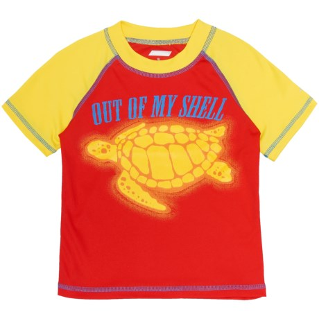 Oxide Turtle Rash Guard - UPF 50, Short Sleeve (For Toddler and Little Boys) in Red