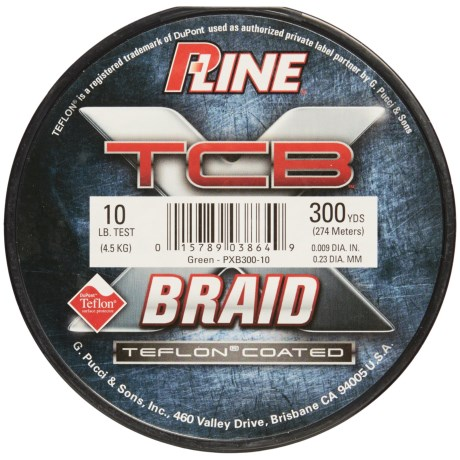 P-Line TCB Teflon®-Coated Braided Fishing Line -10 lb., 300 yds. in Green