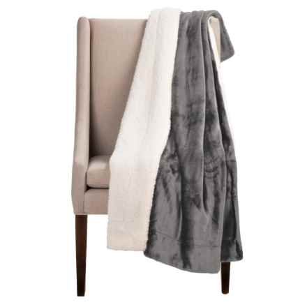 "Pacific Crest Newport Velvet Berber Throw Blanket - 50x60"" in Grey - Overstock"