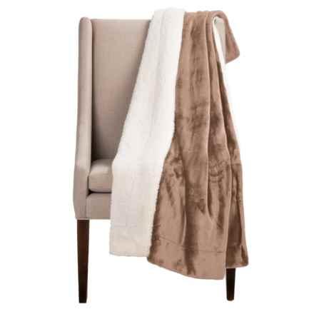 """Pacific Crest Newport Velvet Berber Throw Blanket - 50x60"""" in Latte - Overstock"""