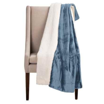 "Pacific Crest Newport Velvet Berber Throw Blanket - 50x60"" in Light Blue - Overstock"