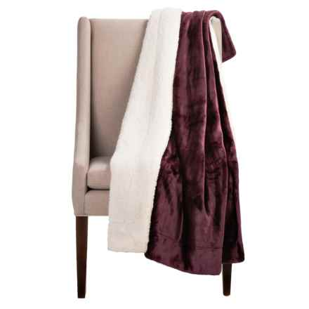 "Pacific Crest Newport Velvet Berber Throw Blanket - 50x60"" in Plum - Overstock"