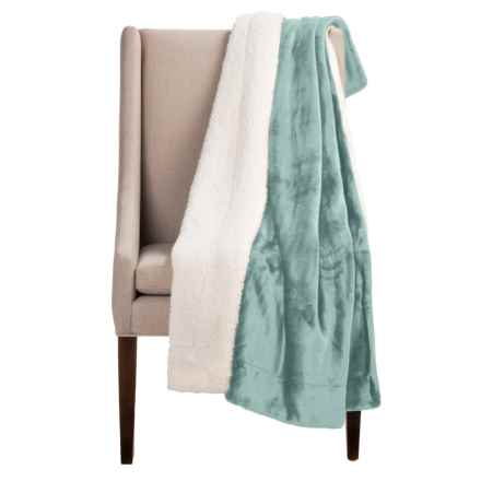 "Pacific Crest Newport Velvet Berber Throw Blanket - 50x60"" in Teal - Overstock"