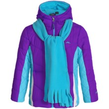 Pacific Trail Chevron-Quilted Puffer Jacket with Scarf - Fleece Lined (For Little Girls) in Purple - Closeouts