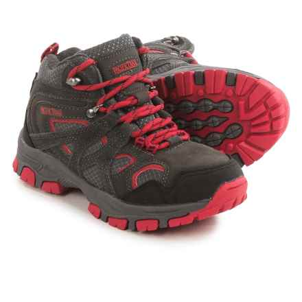 Pacific Trail Diller Junior Hiking Boots (For Little and Big Boys) in Charcoal/Black/Red - Closeouts