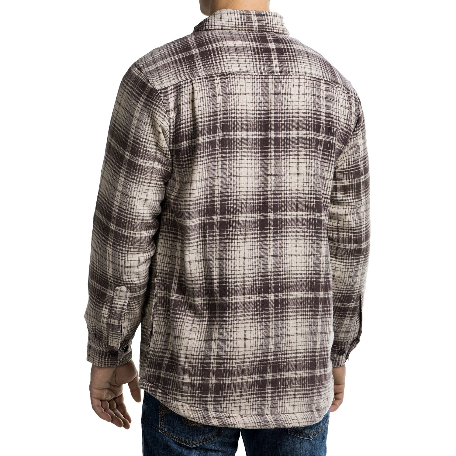 Pacific trail fleece lined flannel shirt jacket for men for Zip front flannel shirt