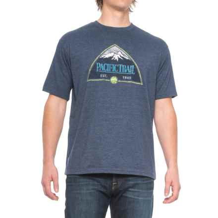 Pacific Trail Graphic T-Shirt - Short Sleeve (For Men) in Navy Heather/Mountain - Closeouts