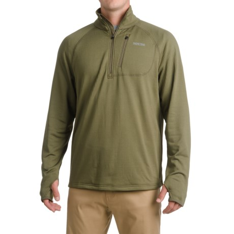 Pacific Trail Grid Fleece Sweater - UPF 30, Zip Neck (For Men) in Olive Night