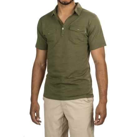 Pacific Trail Jersey Polo Shirt - UPF 30, Cotton Blend, Button Neck (For Men) in Olive - Closeouts