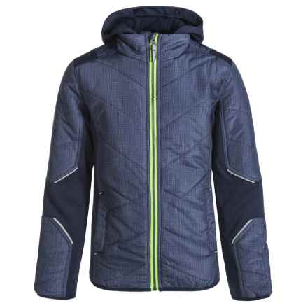 Pacific Trail Mixed Media Hatch Printed Jacket - Insulated (For Little Boys) in Classic Navy/Acid Lime - Overstock