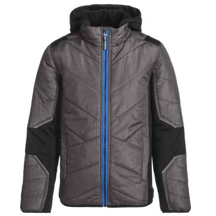 Pacific Trail Mixed Media Hatch Printed Jacket - Insulated (For Little Boys) in Deep Black/Blue Shadow - Overstock