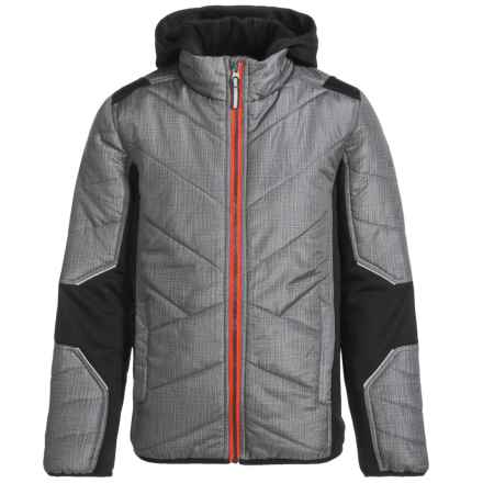 Pacific Trail Mixed Media Hatch Printed Jacket - Insulated (For Little Boys) in Stone Grey/Sunrise Orange - Overstock