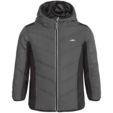 Pacific Trail Mixed Media Hooded Jacket (For Little Boys) in Asphalt - Closeouts