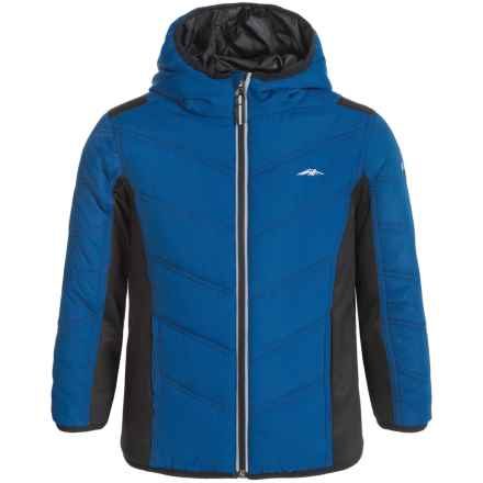 Pacific Trail Mixed Media Hooded Jacket (For Little Boys) in True Blue - Closeouts