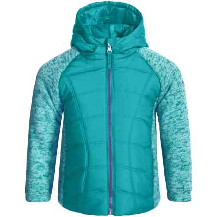 Pacific Trail Mixed Media Sweater-Knit Fleece Jacket (For Big Girls) in Cove Teal/Magnetic Purple - Closeouts