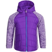 Pacific Trail Mixed Media Sweater-Knit Fleece Jacket (For Big Girls) in Royal Purple/Mosaic Blue - Closeouts