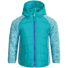 Pacific Trail Mixed Media Sweater Knit Fleece Jacket (For Little Girls) in Cove Teal/Magnetic Purple - Closeouts