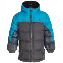 Pacific Trail Print Block Nordic Puffer Jacket - Fleece Lined (For Little Kids) in Asphalt - Closeouts