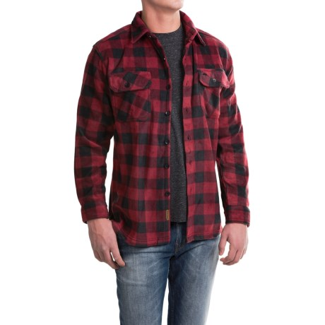 Pacific Trail Printed Fleece Shirt Jacket (For Men) in Red/Black