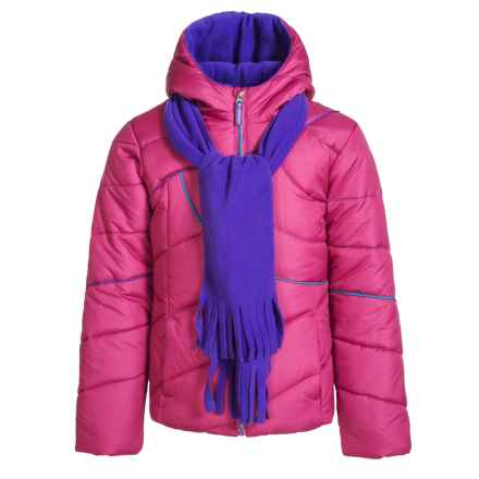 Pacific Trail Puffer Jacket - Matching Scarf, Insulated (For Little and Big Girls) in Raspberry Heather/Purple Kiss/Bold Turquoise - Overstock