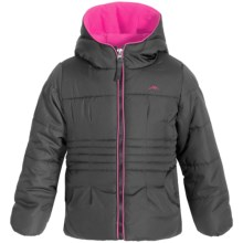 Pacific Trail Puffer Jacket with Neck Warmer - Fleece Lined (For Little Girls) in Black - Closeouts