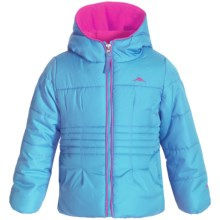Pacific Trail Puffer Jacket with Neck Warmer - Fleece Lined (For Little Girls) in Blue - Closeouts