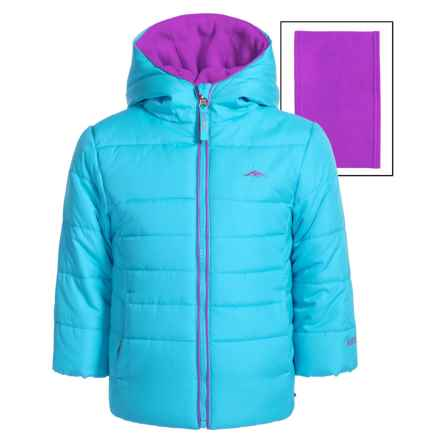 Pacific Trail Puffer Jacket with Neck Warmer (For Toddlers) in Mosaic Blue - Closeouts