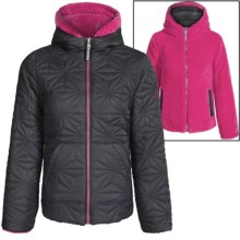 Pacific Trail Quilted Fleece Reversible Jacket (For Big Girls) in Black/Pink Paint - Closeouts