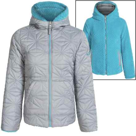 Pacific Trail Quilted Fleece Reversible Jacket (For Big Girls) in Slate/Blue Atoll - Closeouts