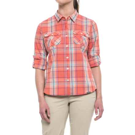 Pacific Trail Stretch Plaid Shirt - UPF 30, Long Sleeve (For Women) in Coral Plaid - Closeouts