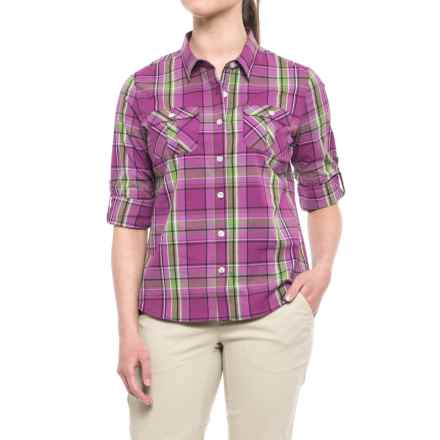 Pacific Trail Stretch Plaid Shirt - UPF 30, Long Sleeve (For Women) in Plum Plaid - Closeouts
