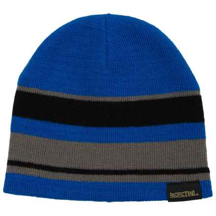 Pacific Trail Striped Beanie - Reversible (For Little and Big Boys) in Black - Closeouts