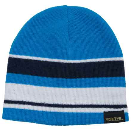 Pacific Trail Striped Beanie - Reversible (For Little and Big Boys) in Patriot Blue - Closeouts
