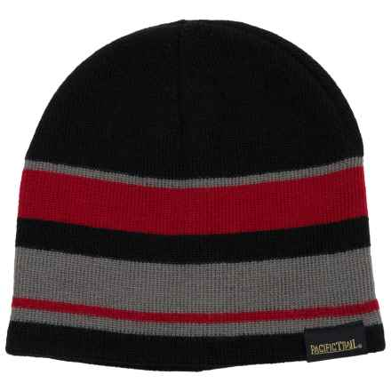 Pacific Trail Striped Beanie - Reversible (For Little and Big Boys) in Tango Red - Closeouts