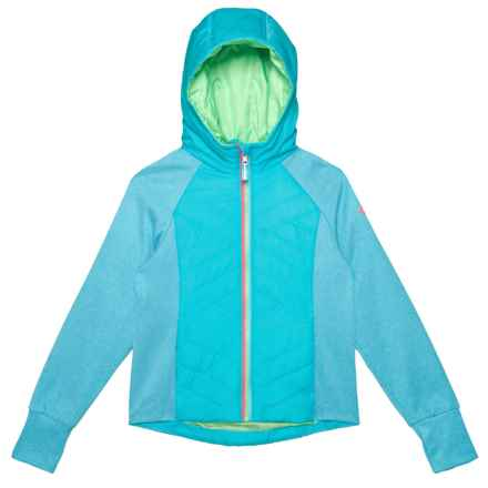 Pacific Trail Textured Quilted Hooded Jacket - Insulated (For Big Girls) in Scuba Blue - Closeouts