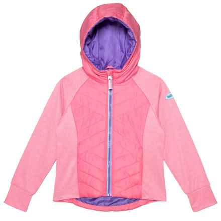Pacific Trail Textured Quilted Hooded Jacket - Insulated (For Little Girls) in Pink Lemonade - Closeouts