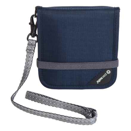 Pacsafe RFIDsafe V-100 Anti-Theft Bi-Fold Wallet in Navy Blue - Closeouts